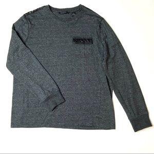 Sean John Mens Sweatshirt Faux Leather Shoulders L